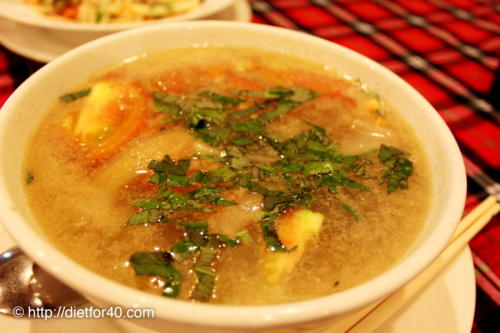 トマトと玉ねぎ、牛肉のスープ (at Sasa Cafe)